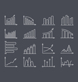 Graphs and Charts Line Icons vector image