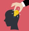 Hand stealing idea light bulbs from head vector image