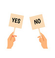 hands holding yes no banners vector image vector image