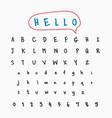 handwritten one line font alphabet letters vector image