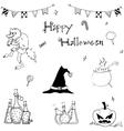 Happy Halloween flat in doodle vector image vector image