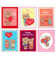 i love you happy valentines day set poster bear vector image vector image