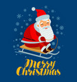 merry christmas greeting card santa claus rides a vector image