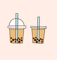 milk bubble tea doodle drawing vector image