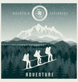 mountain explorers poster vector image vector image