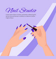 nail studio promotional poster with female hands vector image vector image