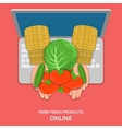 Online farm products flat concept vector image vector image