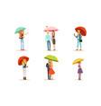 people walking under umbrellas set cheerful vector image vector image