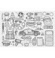 police tools and uniform doodle set vector image vector image