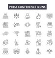 press conference line icons signs set vector image vector image