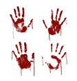 red bloody scary hands imprint set vector image vector image