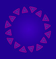 round frame of pink triangles on a dark blue vector image vector image