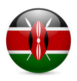 Round glossy icon of kenya vector image