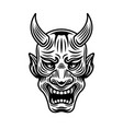 samurai warrior mask black and white object vector image vector image