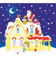Santa with gifts on a housetop vector image vector image