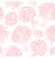 seamless pattern made of peony bouquets on white vector image vector image