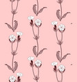 seamless pattern with white campion flowers vector image vector image