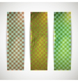 set of checkered banners with cardboard texture vector image vector image