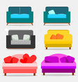 set of sofas and pillows vector image