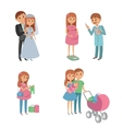 Set of wedding couple pregnant parents young vector image vector image