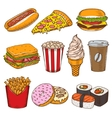 set vintage hand drawn fast food icons vector image