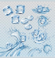 set water splashes and flows vector image vector image