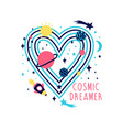 space heart and slogan seamless pattern vector image