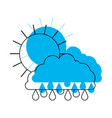 sun and cloud with drops rain in blue watercolor vector image vector image