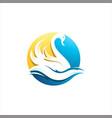 swan bird and water colorful logo icon illu vector image vector image