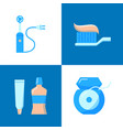teeth hygiene icon set in flat style vector image vector image