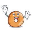waving bagels character cartoon style vector image vector image