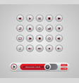 white round media player buttons and audio player vector image vector image