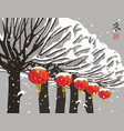 winter landscape with trees and paper lanterns vector image vector image