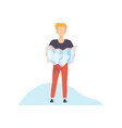 young man holding paper map in his hands vector image vector image