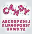 funny glossy candy alphabet vector image