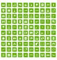 100 headphones icons set grunge green vector image vector image