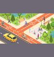 bicycle path bike road lane isometric city street vector image vector image