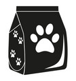 black and white dry cat food bag silhouette vector image