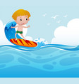 boy surfing on the wave vector image