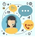 Call center telemarketing woman operator vector image