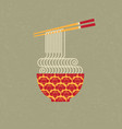 chinese food pattern bowl noodle chopsticks vector image vector image