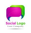 Colorful 3d Volume Logo Design Speech bubble icon vector image vector image