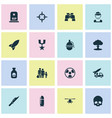 combat icons set collection of dangerous atom vector image vector image