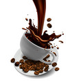 cup of coffee coffee beans and splash effect vector image vector image