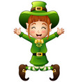 cute girl leprechaun cartoon jumping vector image