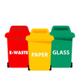 different color recycle bin e-waste paper glass ve vector image