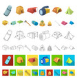 different kinds of tents cartoon icons in set vector image vector image