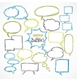 Doodle comic speech bubbles set vector image vector image