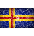 Flags Aland with broken glass texture vector image