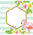 floral tropical banner with flamingo vector image